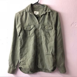 AE Olive/Khaki Green Button Down Shirt (XXS)